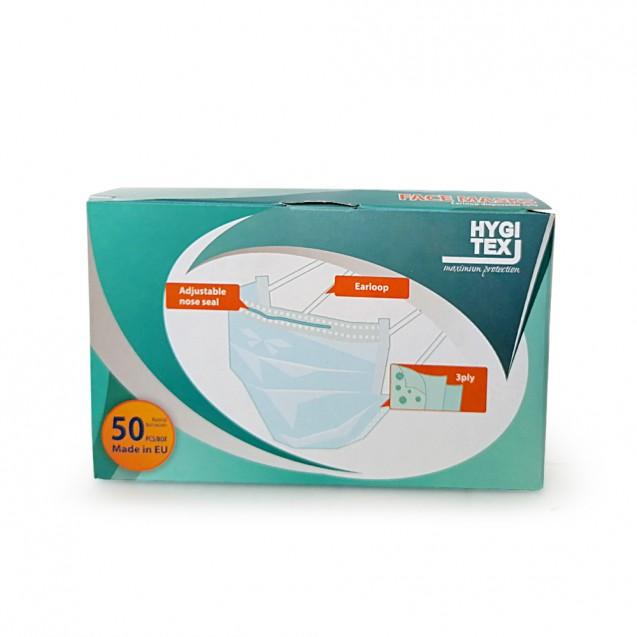 Masti de unica folosinta 50 buc/cutie, din 3 straturi, 3 pliuri, cu elastic , Albastru
