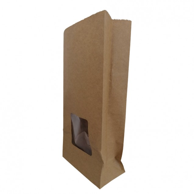 Punga stand up din hartie natur ,cu fereastra, 12x6x25 cm, 100 buc/set