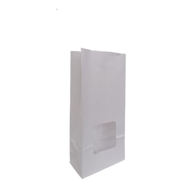 Punga hartie alba ,cu fereastra, baza patrata, laminata complet la interior 12x6x25 cm, 100 buc/set